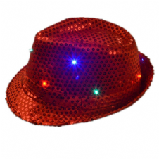 Hat Flashing LED In Red Light Up Trilby - 3 Modes